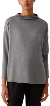 Eileen Fisher Boxy Funnel-Neck Top