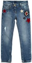 Ermanno Scervino Embroidered Patches Stretch Denim Jeans