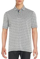 Saks Fifth Avenue BLACK Striped Two-Button Tee