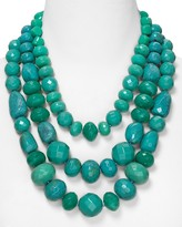 Aqua Multi Layer Beaded Necklace in Turquoise, 22""