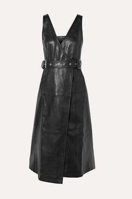 Proenza Schouler Belted Paneled Leather Wrap Dress - Black