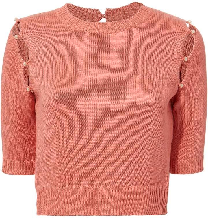 Sonia Rykiel Pearl Embellished Knit Top