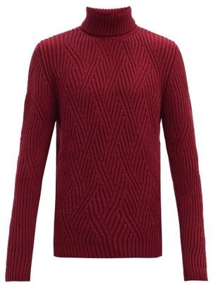 Etro Rib-knitted Zig-zag Wool Sweater - Burgundy