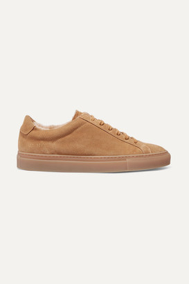 Common Projects Retro Low Shearling-lined Suede Sneakers - Tan