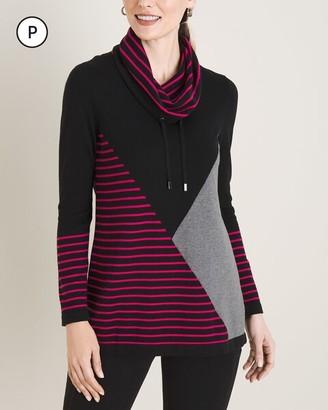 Zenergy Petite Cotton-Cashmere Blend Drawstring Cowl Sweater
