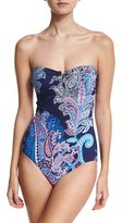 Tommy Bahama Paisley Leaves Bandeau One-Piece Swimsuit, Blue