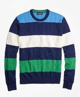Brooks Brothers Cable Knit Slub Stripe Crewneck Sweater