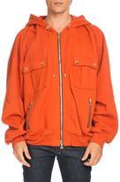 Balmain Oversized Utility Zip Hoodie, Orange