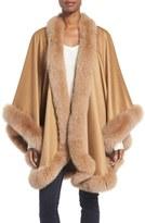 Sofia Cashmere Women's Genuine Fox Fur Trim Cape