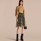 Burberry Macramé and Pleated Organza Fit and Flare Dress