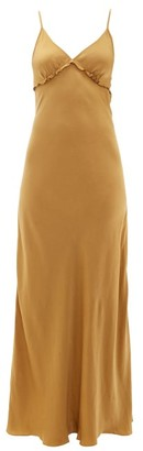 Marios Schwab On The Island By Sealion Satin Maxi Slip Dress - Womens - Gold