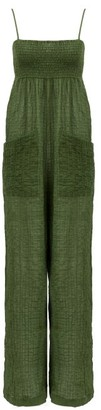 Three Graces London Tallie Crinkled Cotton-blend Voile Jumpsuit - Green