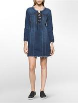 Calvin Klein Denim Lace-Up Dress