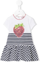 MonnaLisa strawberry stripe dress - kids - Cotton/Spandex/Elastane - 3 mth