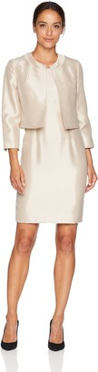 Le Suit LeSuit Women's Petite Shiny Fly Away JKT with Sheath Dress