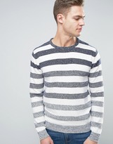Solid Sweater In Faded Stripe