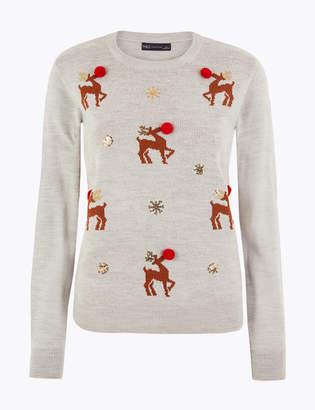 Marks and Spencer Reindeer Embellished Christmas Jumper