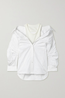 alexanderwang.t Layered Ruched Cotton Oxford And Stretch-jersey Shirt - White