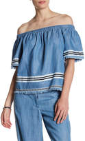 Plenty by Tracy Reese Off-the-Shoulder Chambray Striped Blouse
