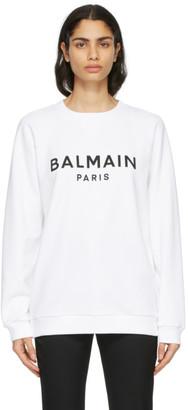 Balmain White and Black Logo Sweatshirt