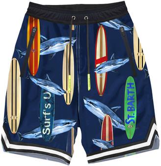 MC2 Saint Barth Shark Attack Print Boy Swim Shorts With Tape Finish