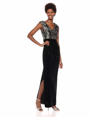 Adrianna Papell Women's Sleeveless Deep V-Neck Velvet Sequin Long Dress