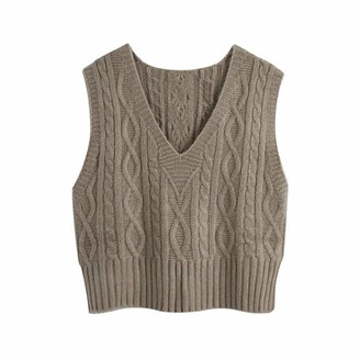 Ytyh Knitted Pullover Vest Female Sleeveless Sweaters Ladies Autumn Solid Knitwear Women Casual Coffee Color V Neck Coffee S