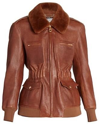 Chloé Shearling-Trimmed Leather Flight Jacket