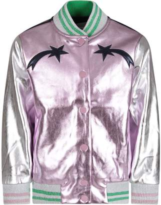 Stella McCartney Lilac And Silver Girl Bomber Jacket With Black Stars