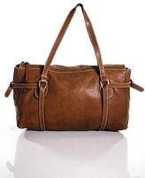 Hogan Tan Brown Leather Gold Tone Zipper Medium Tote Handbag
