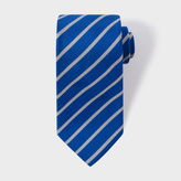 Paul Smith Men's Blue Diagonal Stripe Silk Tie