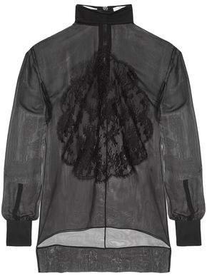 Givenchy Lace-Appliquéd Silk-Chiffon Blouse