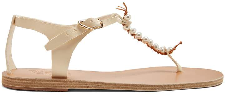 Ancient Greek Sandals Chrysso faux-pearl embellished leather sandals