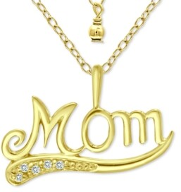 """Giani Bernini Cubic Zirconia Accent """"Mom"""" Pendant Necklace in 18k Gold-Plated Sterling Silver, 16"""" + 2"""" extender, Created for Macy's"""