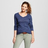 Women's Solid Long Sleeve V-Tee - Mossimo Supply Co. (Juniors')