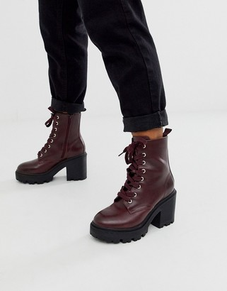 New Look leather look lace up heeled boot in burgundy-Brown