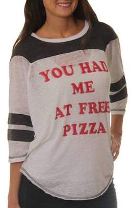 Freeze Women's You had me at Free Pizza Graphic Football T-Shirt