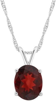 14K Gold Oval 2.80 cttw Garnet Pendant with Chain
