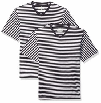 Amazon Essentials Men's Loose-Fit Short-Sleeve Stripe V-Neck T-Shirts
