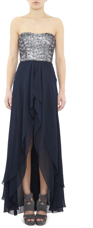 Nicole Miller Swirly Sequin Hi-Lo Gown