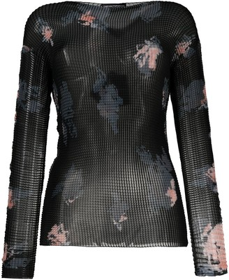Emporio Armani Rose Print Sheer Top