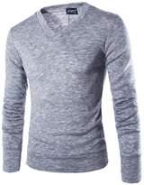 Bestgift Men's Long Sleeve Simple V-Neck Cotton Sweater XL
