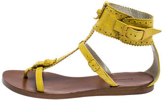 Balenciaga Yellow Brogue Leather T Strap Sandals Size 36.5