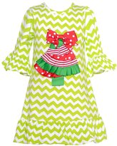 Counting Daisies Little Girls Lime Chevron Christmas Tree Applique Dress