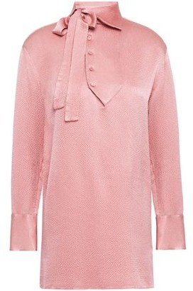 Valentino Pussy-bow Hammered-satin Blouse