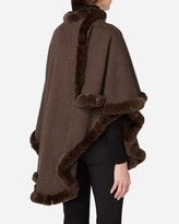 N.Peal Cashmere Cape with Fur Trim Edge