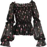 Dolce & Gabbana Rose-print square-neck silk-chiffon blouse