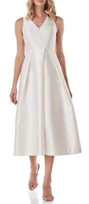 Kay Unger Maxime Pleat Flare Cocktail Dress