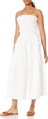 Elliatt Women's Apparel Women's Sleeveless with Tie Strap Detail Shirred Bodice with Pockets Athens Maxi Dress