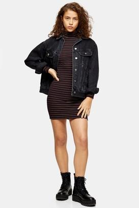 Topshop PETITE Metallic Thread Stripe Funnel Neck Dress
